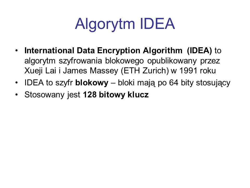 Algorytm IDEA International Data Encryption Algorithm (IDEA) to algorytm szyfrowania blokowego opublikowany przez Xueji Lai i James Massey (ETH Zurich