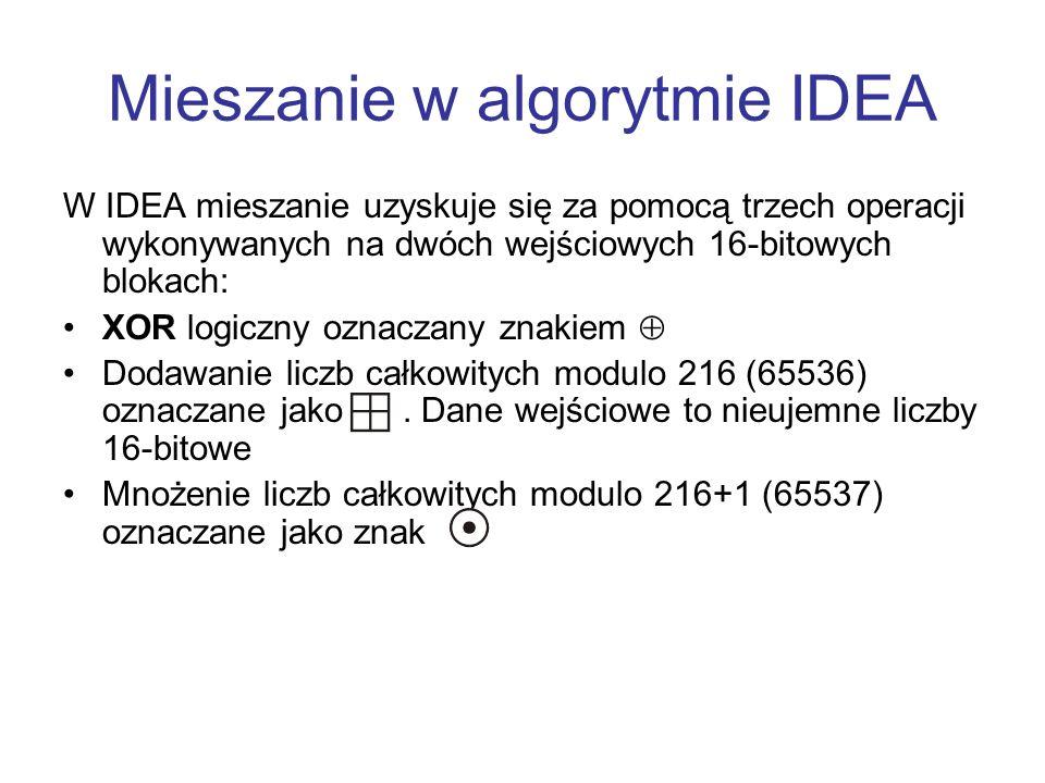 Mieszanie w algorytmie IDEA W IDEA mieszanie uzyskuje się za pomocą trzech operacji wykonywanych na dwóch wejściowych 16-bitowych blokach: XOR logiczn