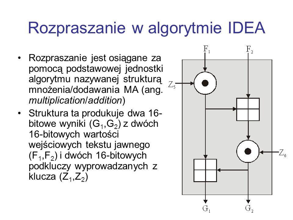 Rozpraszanie w algorytmie IDEA Rozpraszanie jest osiągane za pomocą podstawowej jednostki algorytmu nazywanej strukturą mnożenia/dodawania MA (ang. mu