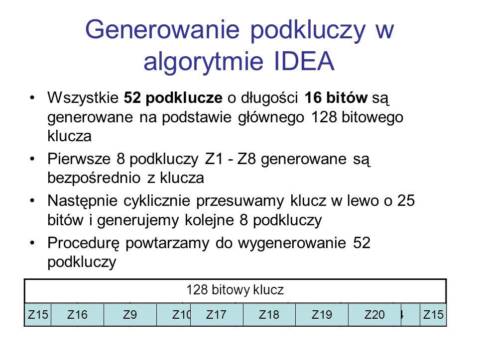 Generowanie podkluczy w algorytmie IDEA Wszystkie 52 podklucze o długości 16 bitów są generowane na podstawie głównego 128 bitowego klucza Pierwsze 8