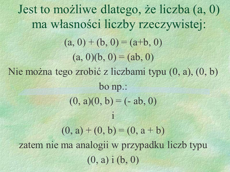 Jest to możliwe dlatego, że liczba (a, 0) ma własności liczby rzeczywistej: (a, 0) + (b, 0) = (a+b, 0) (a, 0)(b, 0) = (ab, 0) Nie można tego zrobić z