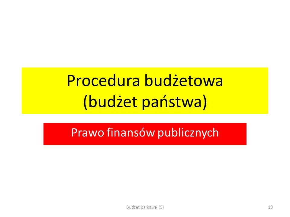 Procedura budżetowa (budżet państwa) Prawo finansów publicznych Budżet państwa (5)19