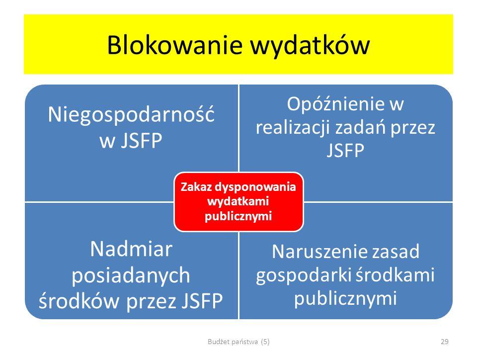 Blokowanie wydatków Niegospodarność w JSFP Opóźnienie w realizacji zadań przez JSFP Nadmiar posiadanych środków przez JSFP Naruszenie zasad gospodarki