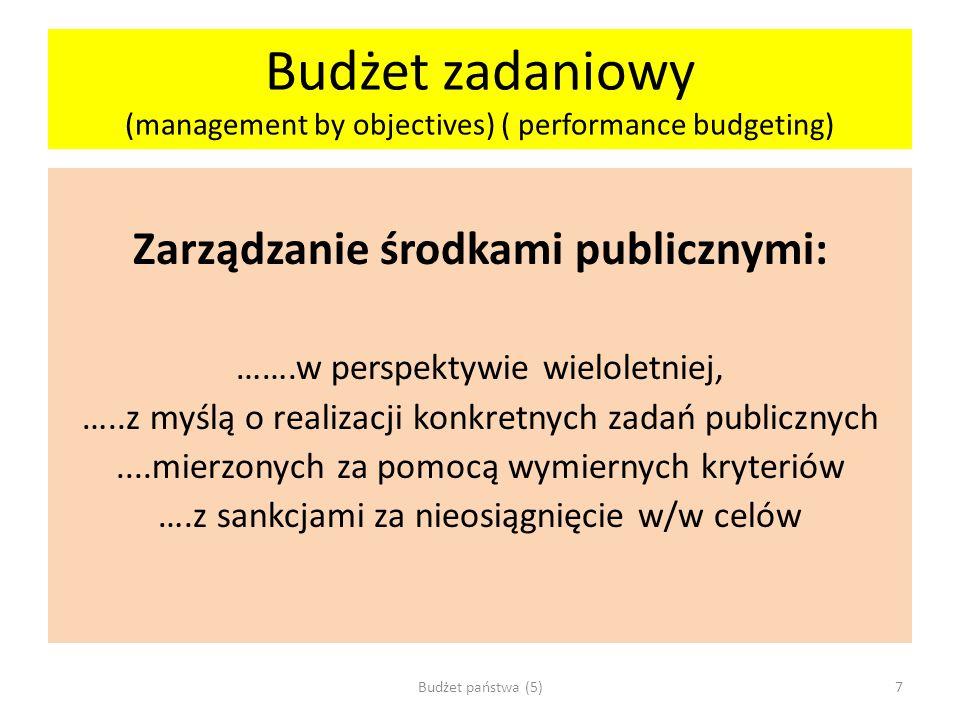 Budżet zadaniowy (management by objectives) ( performance budgeting) Zarządzanie środkami publicznymi: …….w perspektywie wieloletniej, …..z myślą o re
