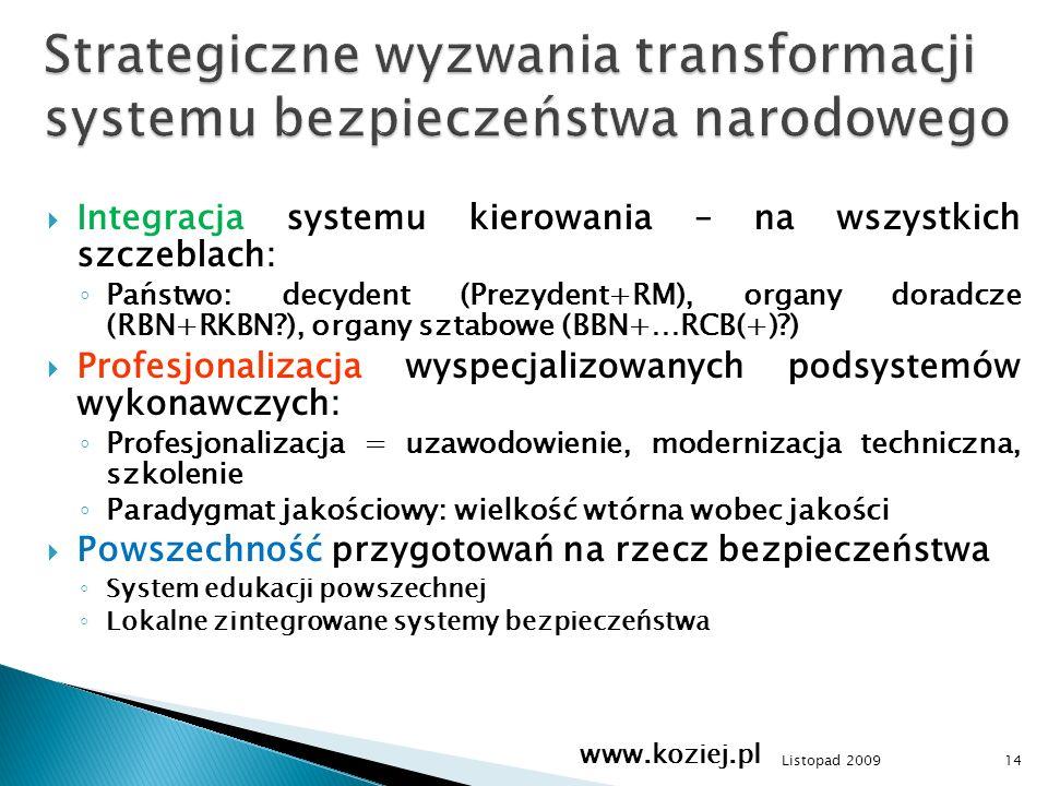 Integracja systemu kierowania – na wszystkich szczeblach: Państwo: decydent (Prezydent+RM), organy doradcze (RBN+RKBN?), organy sztabowe (BBN+…RCB(+)?