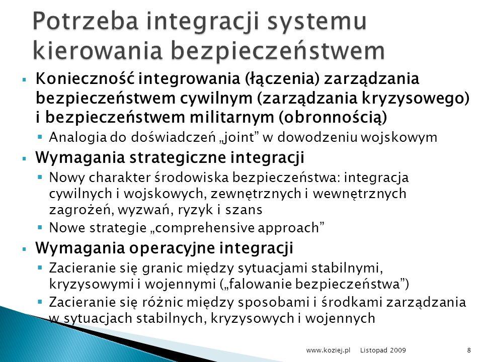 Konieczność integrowania (łączenia) zarządzania bezpieczeństwem cywilnym (zarządzania kryzysowego) i bezpieczeństwem militarnym (obronnością) Analogia