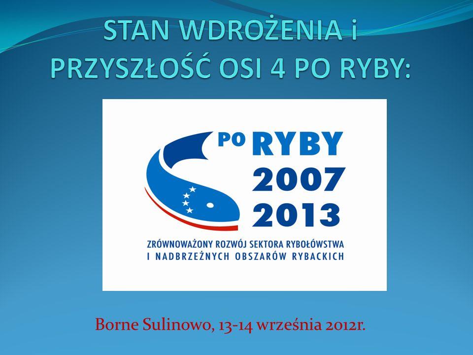 ZARYS WYSTĄPIENIA: Część I 1.Oś priorytetowa 4 PO RYBY 2007-2013 – stan wdrożenia w Polsce 2.