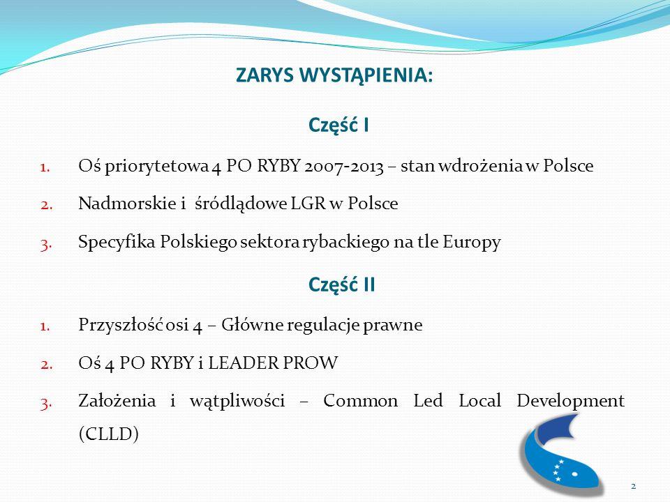 Wdrażanie Osi 4 PO Ryby 2007-2013 oraz obecne szanse jej zrealizowania Zainteresowanie Osią Priorytetową 4 znacznie przerosło oczekiwania, a co za tym idzie limit środków finansowych przeznaczonych dla Polski na jej wdrażanie (313 milionów Euro).
