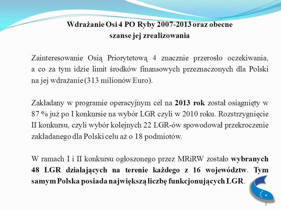 Oś 4 – proces wdrażania Z analizy tempa wdrażania Osi 4 PO RYBY 2007-2013 wynika, że po mało intensywnym początku, od kilku miesięcy można obserwować wyraźny wzrost liczby podpisanych umów oraz zrealizowanych wniosków o płatność.