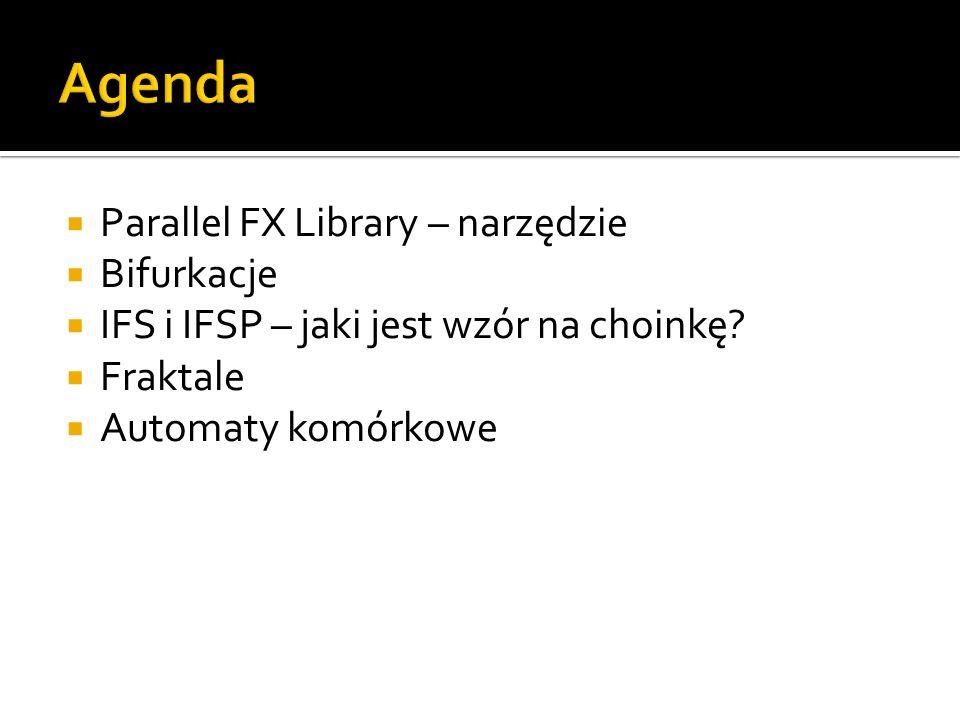 Parallel FX Library – narzędzie Bifurkacje IFS i IFSP – jaki jest wzór na choinkę? Fraktale Automaty komórkowe