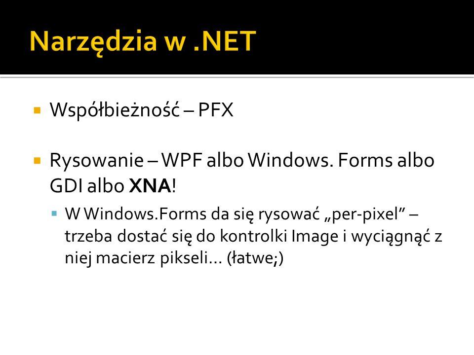 Współbieżność – PFX Rysowanie – WPF albo Windows. Forms albo GDI albo XNA! W Windows.Forms da się rysować per-pixel – trzeba dostać się do kontrolki I