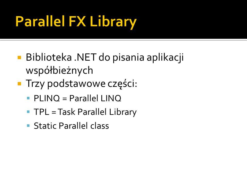 Biblioteka.NET do pisania aplikacji współbieżnych Trzy podstawowe części: PLINQ = Parallel LINQ TPL = Task Parallel Library Static Parallel class