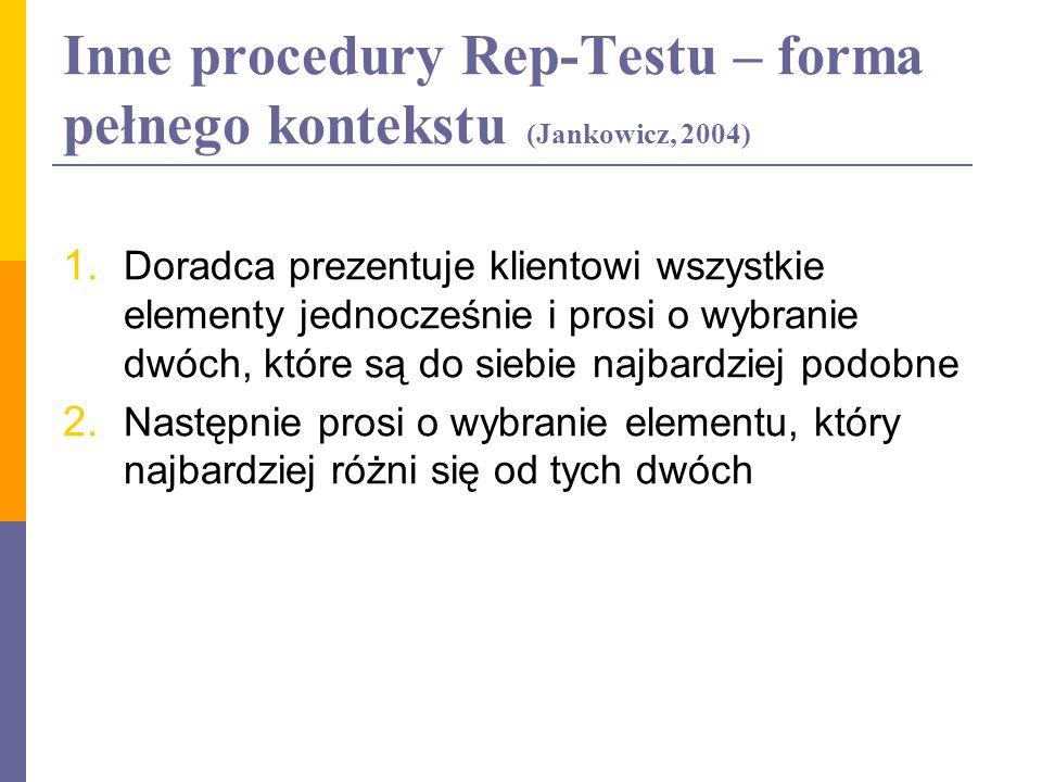 Inne procedury Rep-Testu – forma pełnego kontekstu (Jankowicz, 2004) 1. Doradca prezentuje klientowi wszystkie elementy jednocześnie i prosi o wybrani