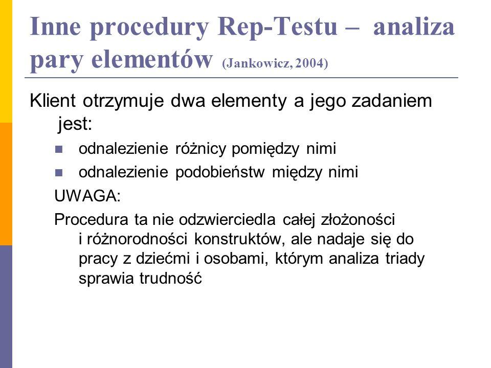 Inne procedury Rep-Testu – analiza pary elementów (Jankowicz, 2004) Klient otrzymuje dwa elementy a jego zadaniem jest: odnalezienie różnicy pomiędzy
