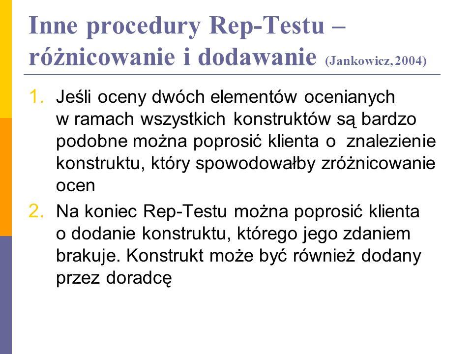 Inne procedury Rep-Testu – różnicowanie i dodawanie (Jankowicz, 2004) 1. Jeśli oceny dwóch elementów ocenianych w ramach wszystkich konstruktów są bar