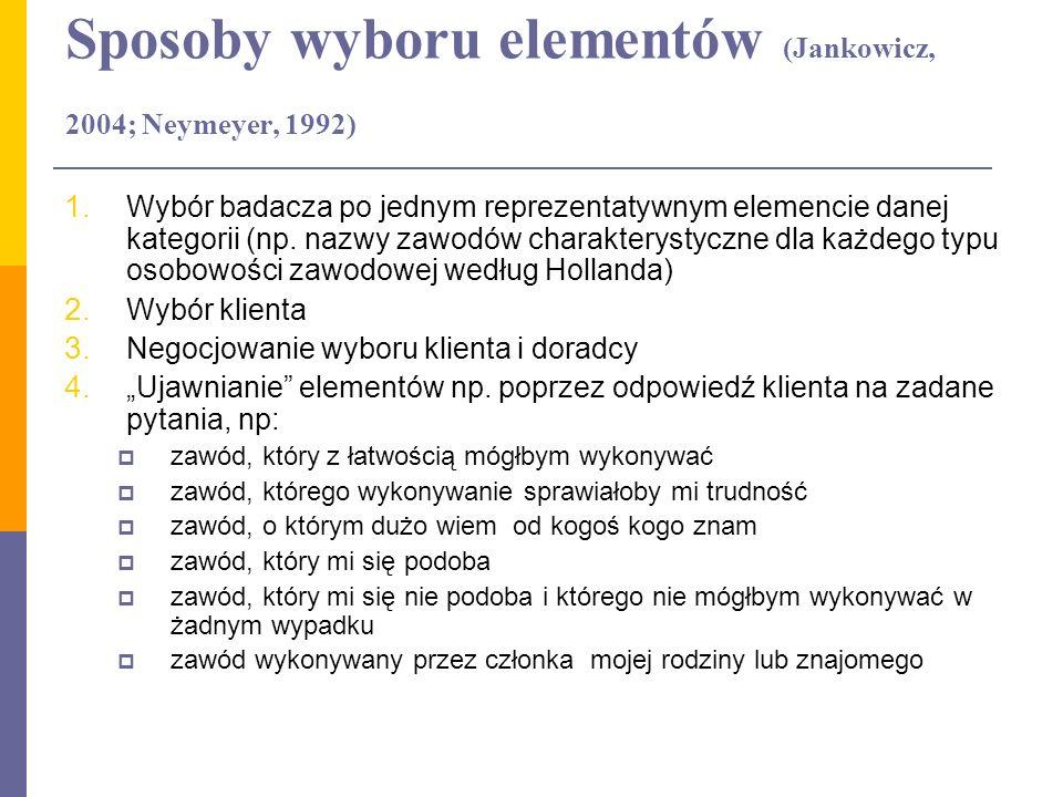 Sposoby wyboru elementów (Jankowicz, 2004; Neymeyer, 1992) 1. Wybór badacza po jednym reprezentatywnym elemencie danej kategorii (np. nazwy zawodów ch