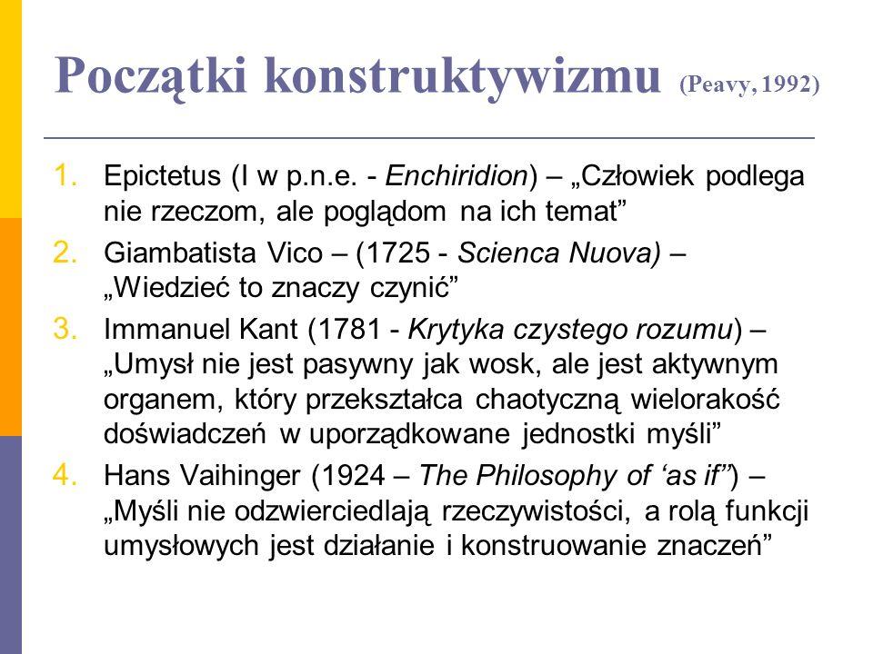Początki konstruktywizmu (Peavy, 1992) 1. Epictetus (I w p.n.e. - Enchiridion) – Człowiek podlega nie rzeczom, ale poglądom na ich temat 2. Giambatist