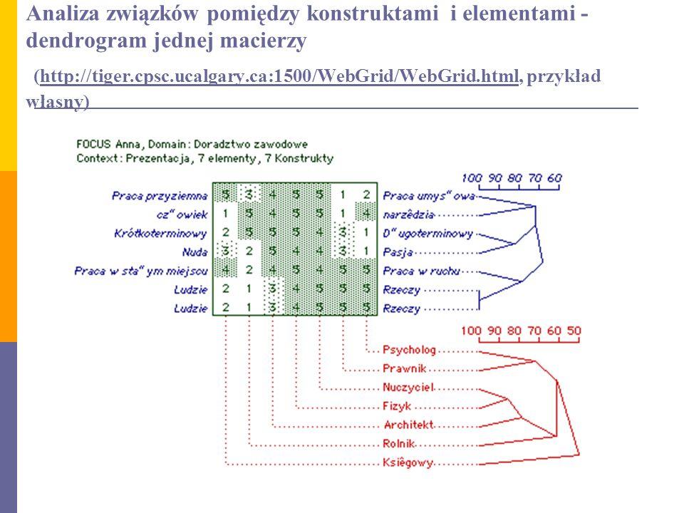 Analiza związków pomiędzy konstruktami i elementami - dendrogram jednej macierzy (http://tiger.cpsc.ucalgary.ca:1500/WebGrid/WebGrid.html, przykład wł