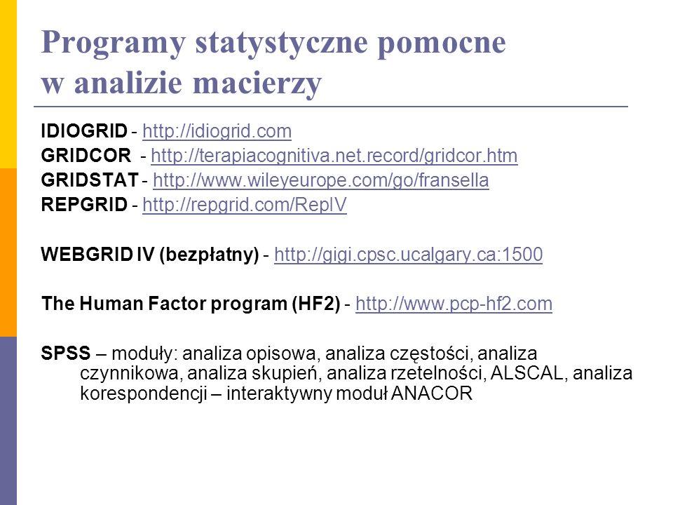 Programy statystyczne pomocne w analizie macierzy IDIOGRID - http://idiogrid.comhttp://idiogrid.com GRIDCOR - http://terapiacognitiva.net.record/gridc