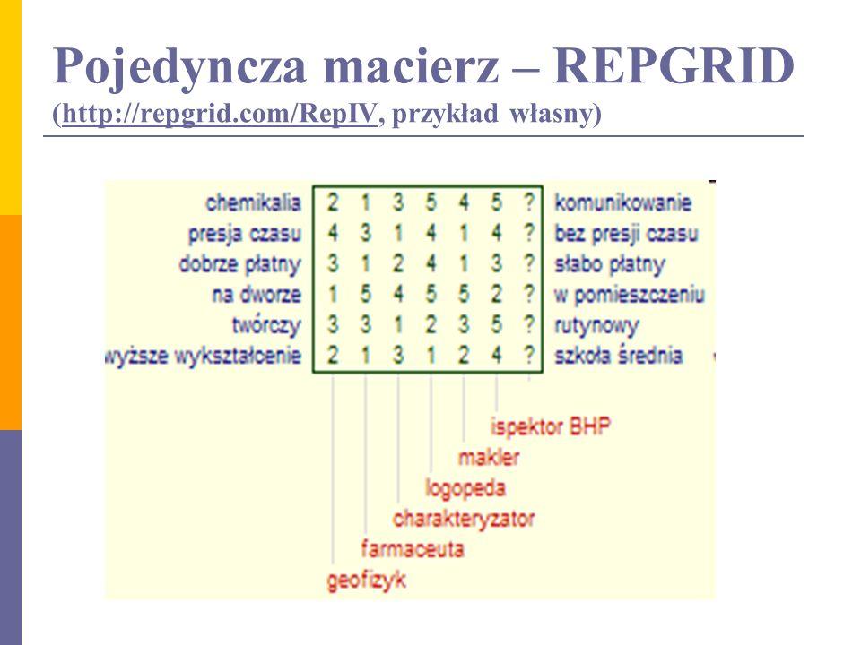 Pojedyncza macierz – REPGRID (http://repgrid.com/RepIV, przykład własny)http://repgrid.com/RepIV