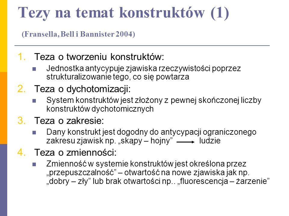 Tezy na temat konstruktów (1) (Fransella, Bell i Bannister 2004) 1. Teza o tworzeniu konstruktów: Jednostka antycypuje zjawiska rzeczywistości poprzez