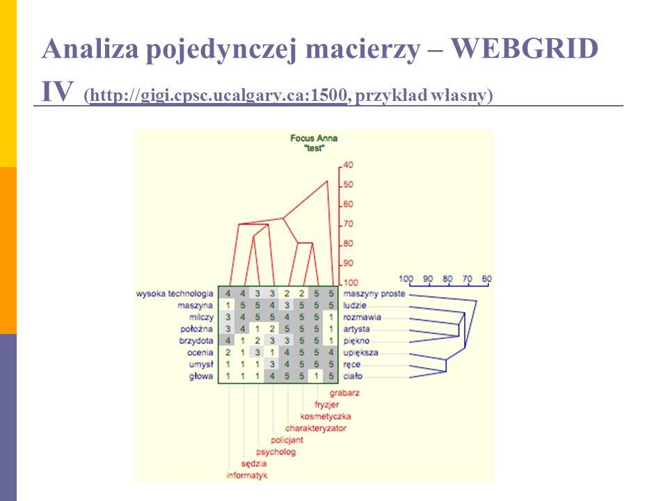 Analiza pojedynczej macierzy – WEBGRID IV (http://gigi.cpsc.ucalgary.ca:1500, przykład własny)http://gigi.cpsc.ucalgary.ca:1500