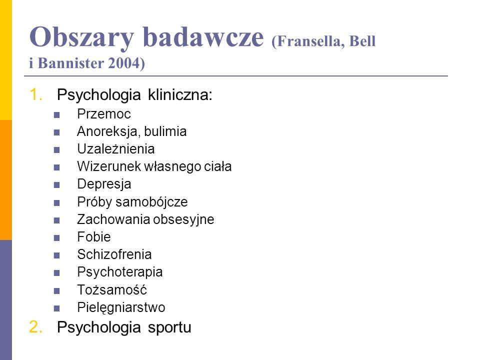 Obszary badawcze (Fransella, Bell i Bannister 2004) 1. Psychologia kliniczna: Przemoc Anoreksja, bulimia Uzależnienia Wizerunek własnego ciała Depresj