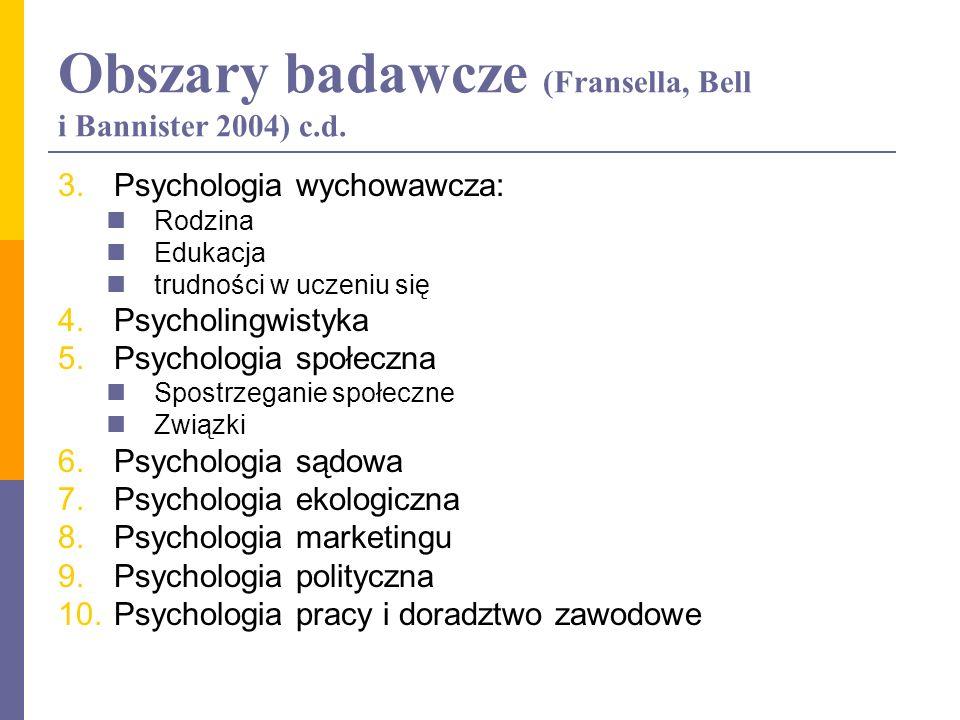 Obszary badawcze (Fransella, Bell i Bannister 2004) c.d. 3.Psychologia wychowawcza: Rodzina Edukacja trudności w uczeniu się 4.Psycholingwistyka 5.Psy