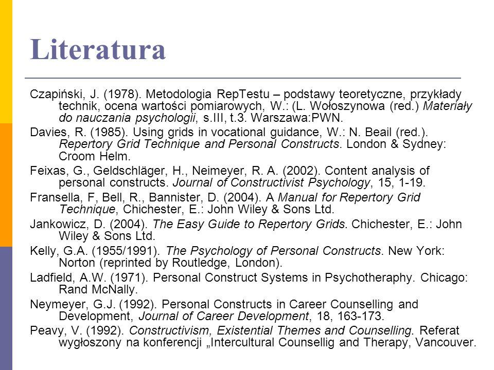 Literatura Czapiński, J. (1978). Metodologia RepTestu – podstawy teoretyczne, przykłady technik, ocena wartości pomiarowych, W.: (L. Wołoszynowa (red.
