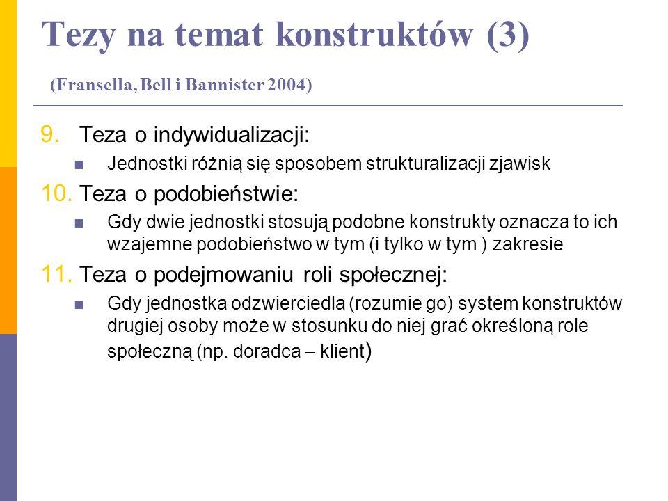Tezy na temat konstruktów (3) (Fransella, Bell i Bannister 2004) 9. Teza o indywidualizacji: Jednostki różnią się sposobem strukturalizacji zjawisk 10