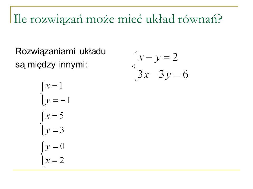 Ile rozwiązań może mieć układ równań? Rozwiązaniami układu są między innymi: