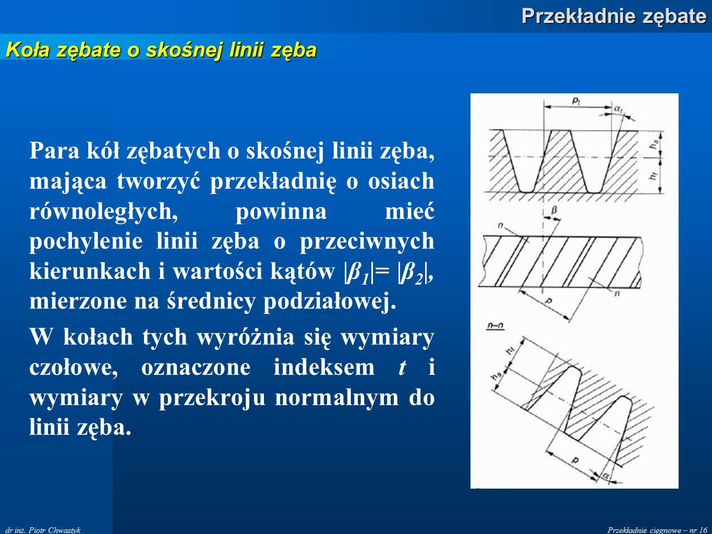 Przekładnie cięgnowe – nr 16 Przekładnie zębate dr inż. Piotr Chwastyk Para kół zębatych o skośnej linii zęba, mająca tworzyć przekładnię o osiach rów