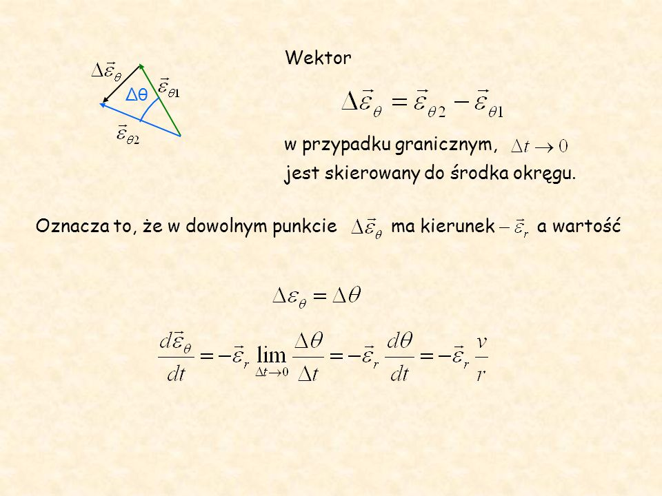 Oznacza to, że w dowolnym punkcie ma kierunek a wartość Wektor w przypadku granicznym, jest skierowany do środka okręgu. θ
