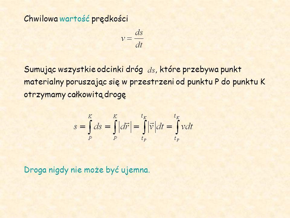 Chwilowa wartość prędkości Sumując wszystkie odcinki dróg, które przebywa punkt materialny poruszając się w przestrzeni od punktu P do punktu K otrzym