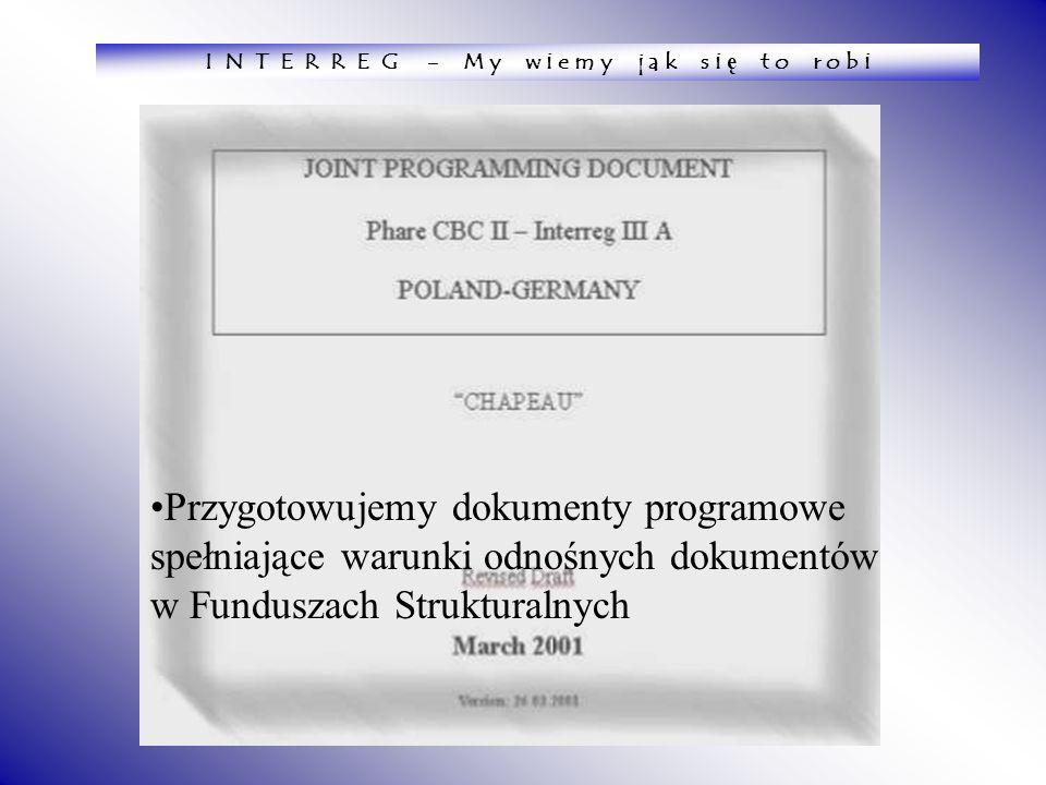 Przygotowujemy dokumenty programowe spełniające warunki odnośnych dokumentów w Funduszach Strukturalnych I N T E R R E G - M y w i e m y j a k s i ę t
