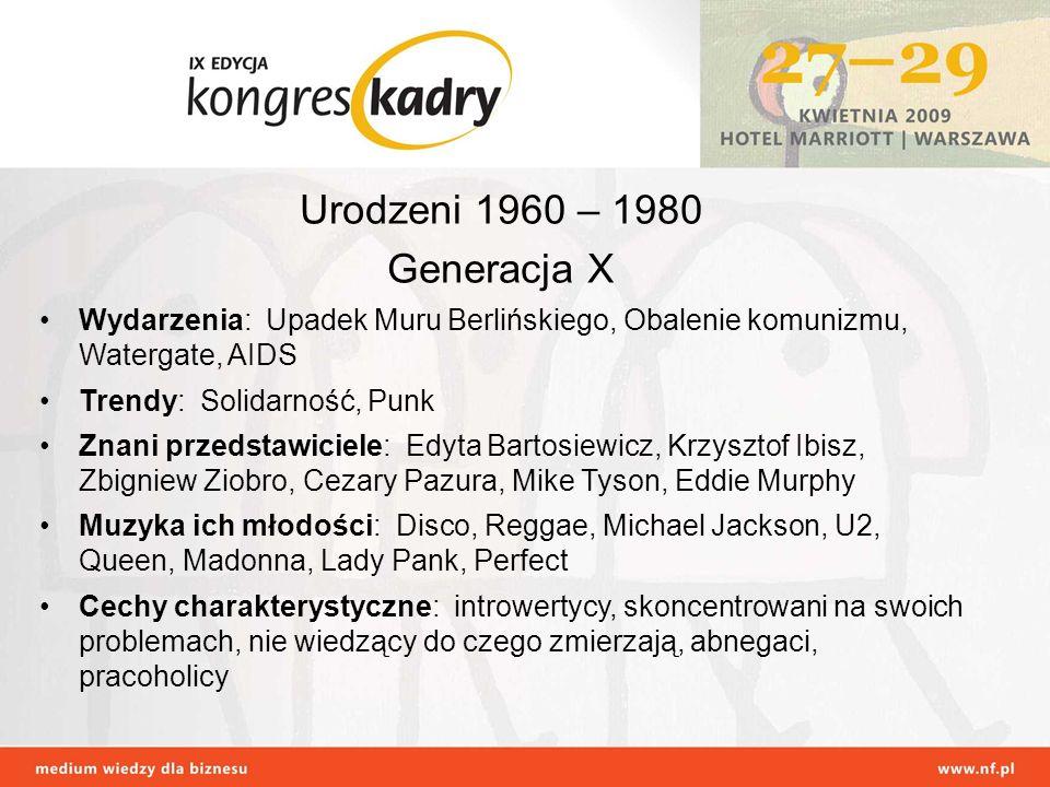 Urodzeni 1960 – 1980 Generacja X Wydarzenia: Upadek Muru Berlińskiego, Obalenie komunizmu, Watergate, AIDS Trendy: Solidarność, Punk Znani przedstawic