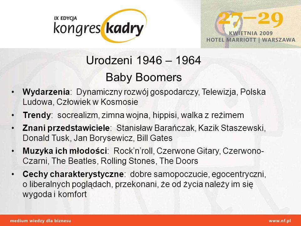 Urodzeni 1946 – 1964 Baby Boomers Wydarzenia: Dynamiczny rozwój gospodarczy, Telewizja, Polska Ludowa, Człowiek w Kosmosie Trendy: socrealizm, zimna w