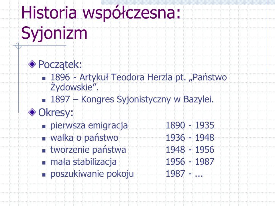 Historia współczesna: Syjonizm Początek: 1896 - Artykuł Teodora Herzla pt. Państwo Żydowskie. 1897 – Kongres Syjonistyczny w Bazylei. Okresy: pierwsza