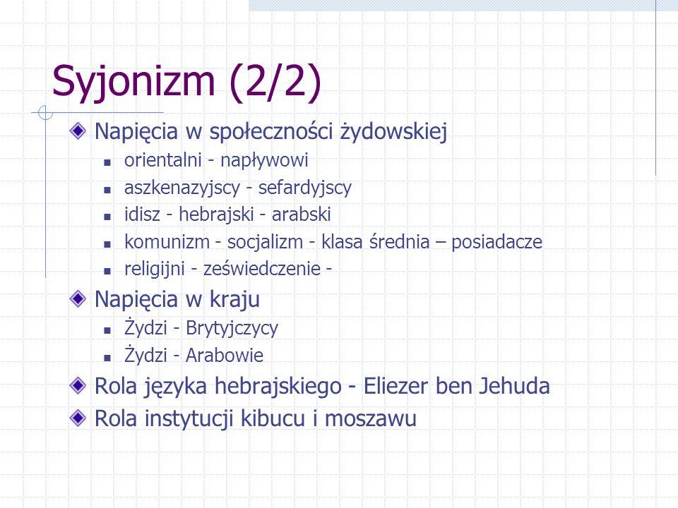 Syjonizm (2/2) Napięcia w społeczności żydowskiej orientalni - napływowi aszkenazyjscy - sefardyjscy idisz - hebrajski - arabski komunizm - socjalizm