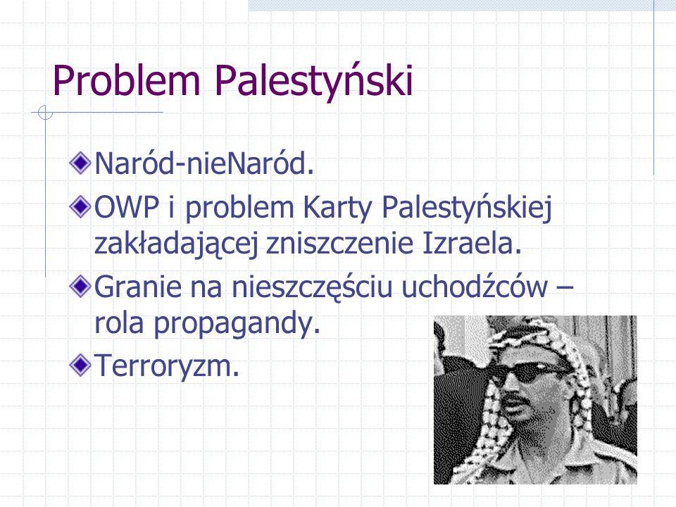 Problem Palestyński Naród-nieNaród. OWP i problem Karty Palestyńskiej zakładającej zniszczenie Izraela. Granie na nieszczęściu uchodźców – rola propag