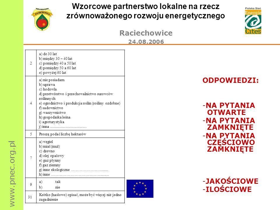 www.pnec.org.pl Wzorcowe partnerstwo lokalne na rzecz zrównoważonego rozwoju energetycznego Raciechowice 24.08.2006 2 a) do 30 lat b) między 30 – 40 l