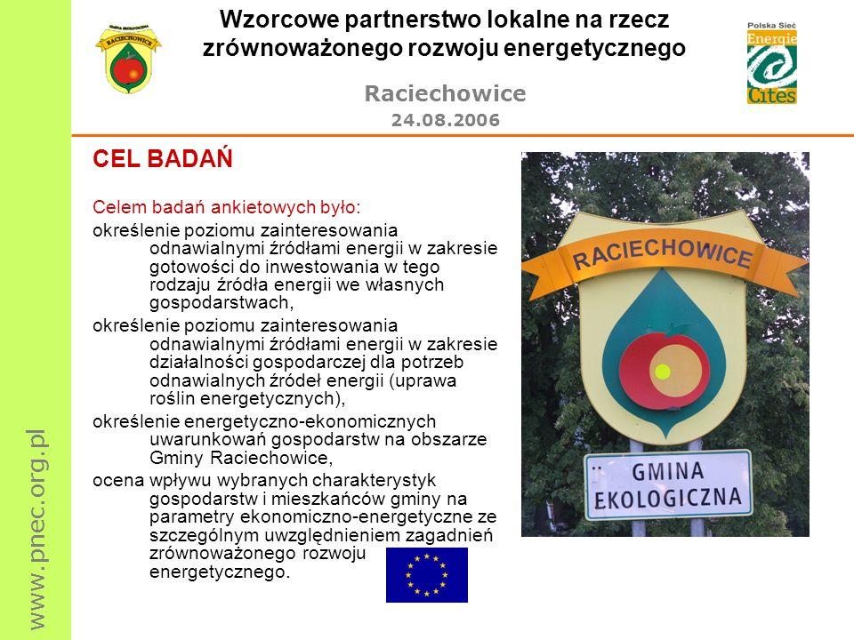 www.pnec.org.pl Wzorcowe partnerstwo lokalne na rzecz zrównoważonego rozwoju energetycznego Raciechowice 24.08.2006 CEL BADAŃ Celem badań ankietowych