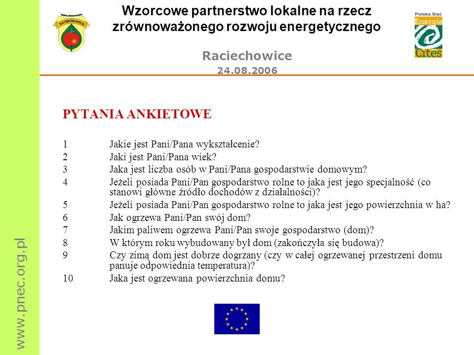 www.pnec.org.pl Wzorcowe partnerstwo lokalne na rzecz zrównoważonego rozwoju energetycznego Raciechowice 24.08.2006 PYTANIA ANKIETOWE 1Jakie jest Pani