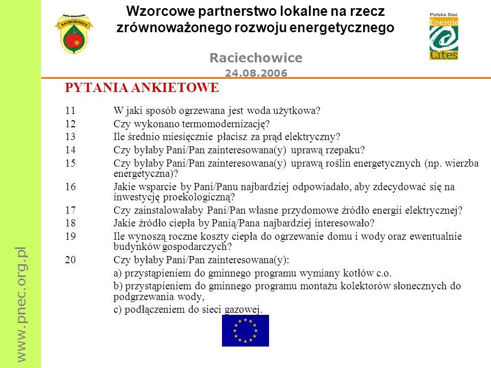 www.pnec.org.pl Wzorcowe partnerstwo lokalne na rzecz zrównoważonego rozwoju energetycznego Raciechowice 24.08.2006 PYTANIA ANKIETOWE 11W jaki sposób