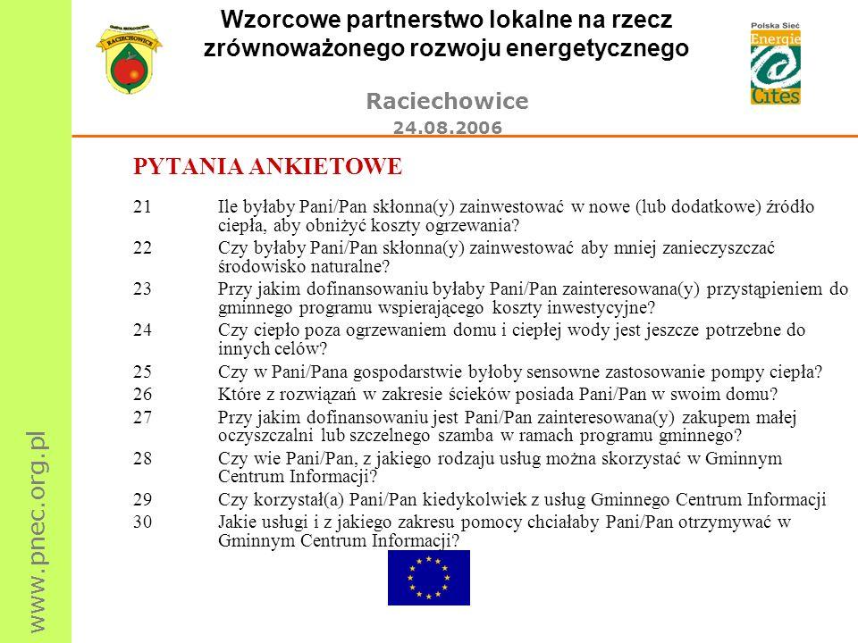 www.pnec.org.pl Wzorcowe partnerstwo lokalne na rzecz zrównoważonego rozwoju energetycznego Raciechowice 24.08.2006 PYTANIA ANKIETOWE 21Ile byłaby Pan