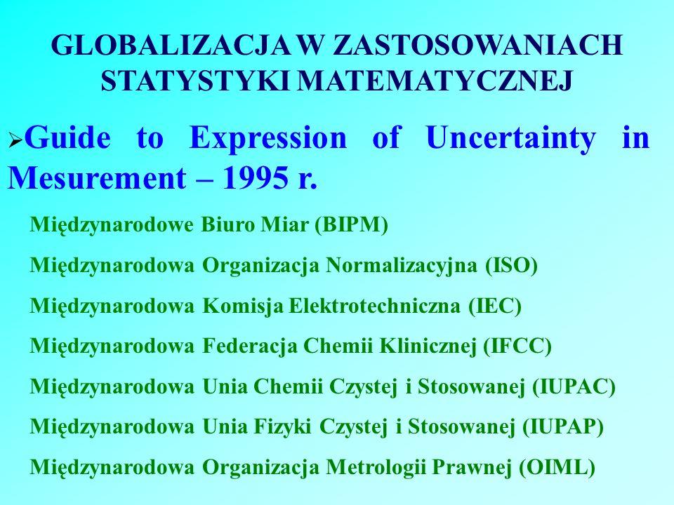 GLOBALIZACJA W ZASTOSOWANIACH STATYSTYKI MATEMATYCZNEJ Guide to Expression of Uncertainty in Mesurement – 1995 r. Międzynarodowe Biuro Miar (BIPM) Mię