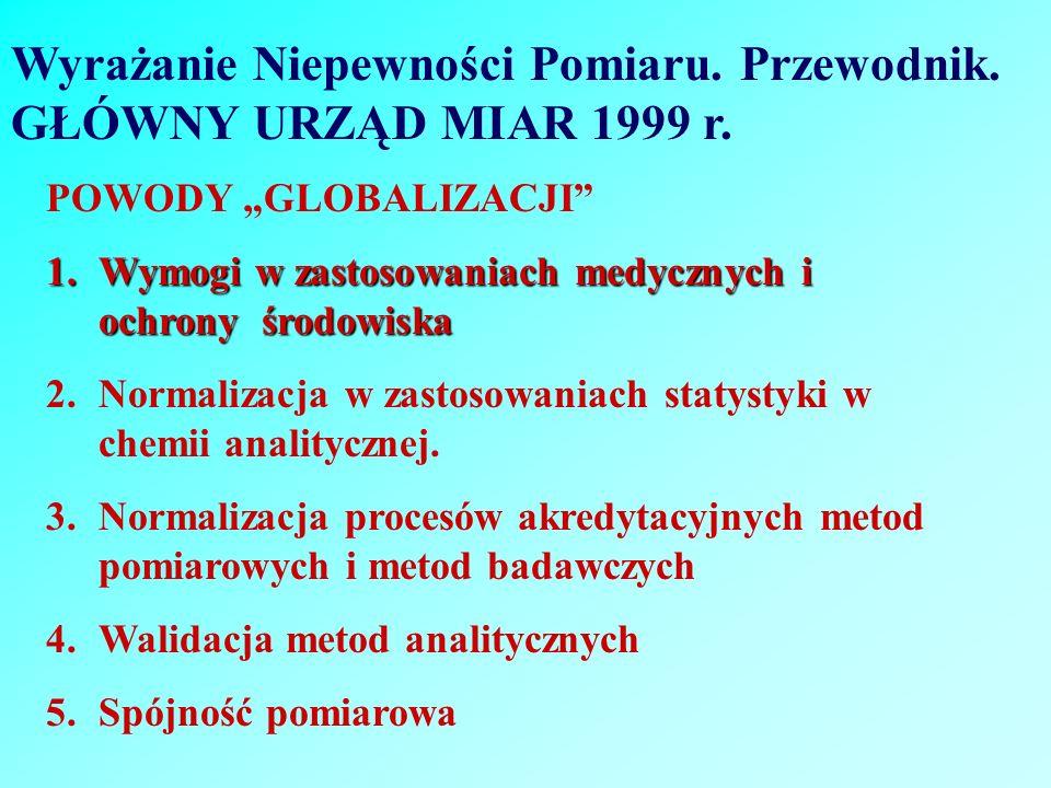 Wyrażanie Niepewności Pomiaru. Przewodnik. GŁÓWNY URZĄD MIAR 1999 r. POWODY GLOBALIZACJI 1.Wymogi w zastosowaniach medycznych i ochrony środowiska 2.N