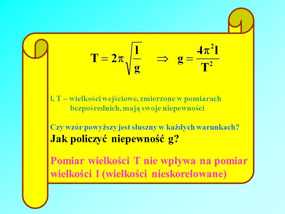 l, T – wielkości wejściowe, zmierzone w pomiarach bezpośrednich, mają swoje niepewności Czy wzór powyższy jest słuszny w każdych warunkach? Jak policz