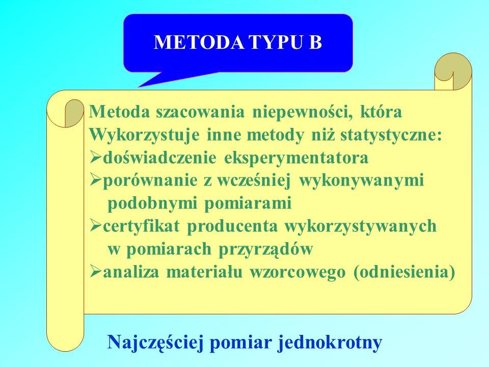 METODA TYPU B Metoda szacowania niepewności, która Wykorzystuje inne metody niż statystyczne: doświadczenie eksperymentatora porównanie z wcześniej wy