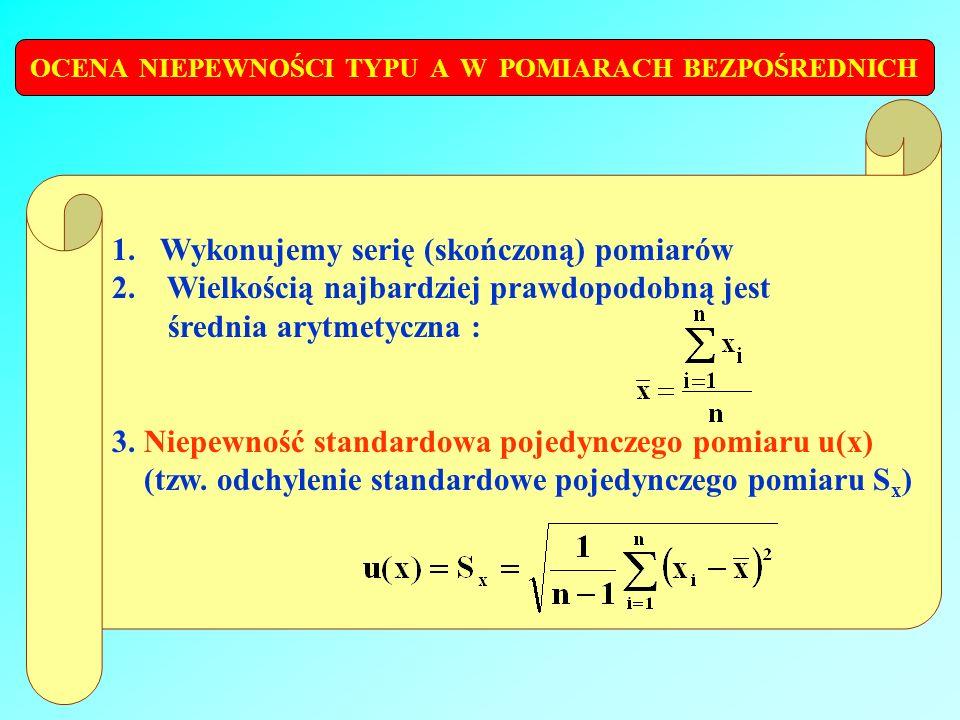 OCENA NIEPEWNOŚCI TYPU A W POMIARACH BEZPOŚREDNICH 1.Wykonujemy serię (skończoną) pomiarów 2. Wielkością najbardziej prawdopodobną jest średnia arytme